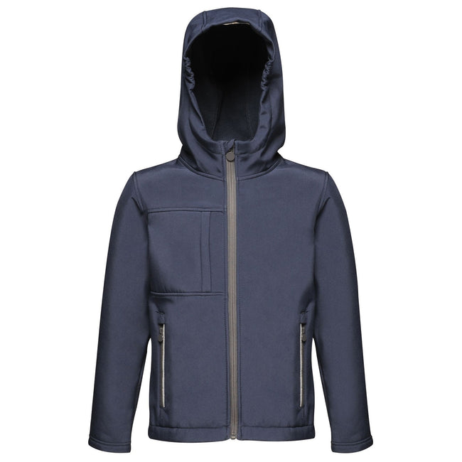 Navy - Back - Regatta Childrens-Kids Octagon 3 Layer Hooded Softshell Jacket