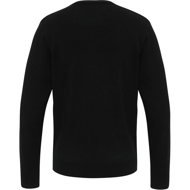 Black - Back - Premier Mens Essential Acrylic V-Neck Sweater