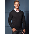 Black - Lifestyle - Premier Mens Essential Acrylic V-Neck Sweater
