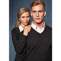 Black - Pack Shot - Premier Mens Essential Acrylic V-Neck Sweater
