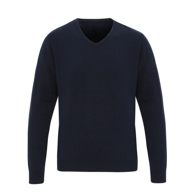Navy - Front - Premier Mens Essential Acrylic V-Neck Sweater