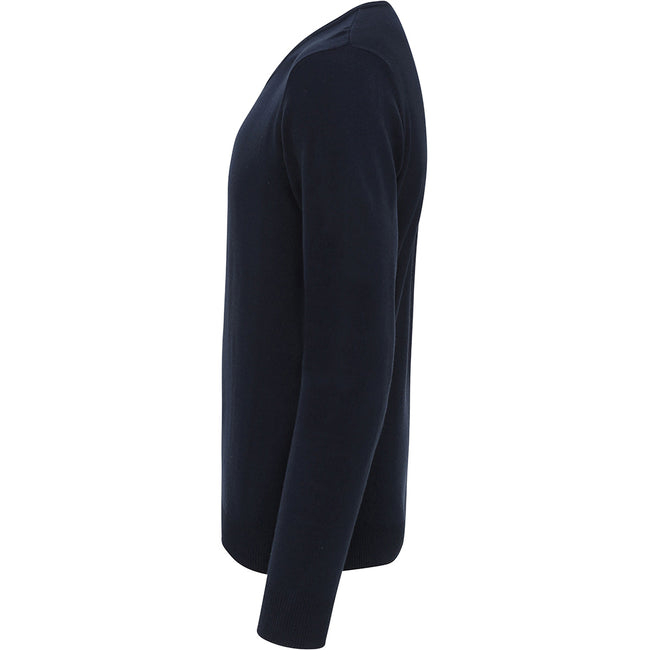 Navy - Back - Premier Mens Essential Acrylic V-Neck Sweater