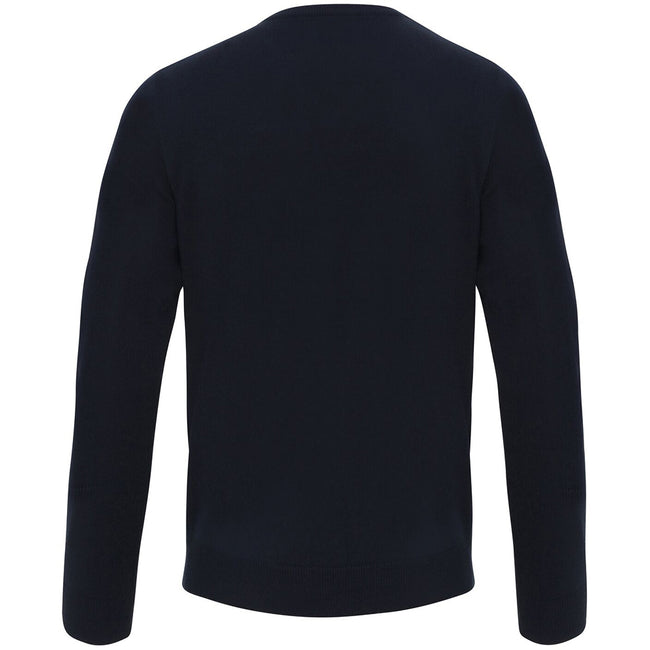 Navy - Side - Premier Mens Essential Acrylic V-Neck Sweater