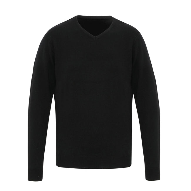 Black - Front - Premier Mens Essential Acrylic V-Neck Sweater