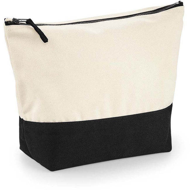 Natural-Black - Back - Westford Mill Dipped Base Canvas Accessory Bag (Pack of 2)