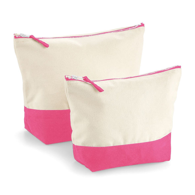 Natural-True Pink - Front - Westford Mill Dipped Base Canvas Accessory Bag (Pack of 2)