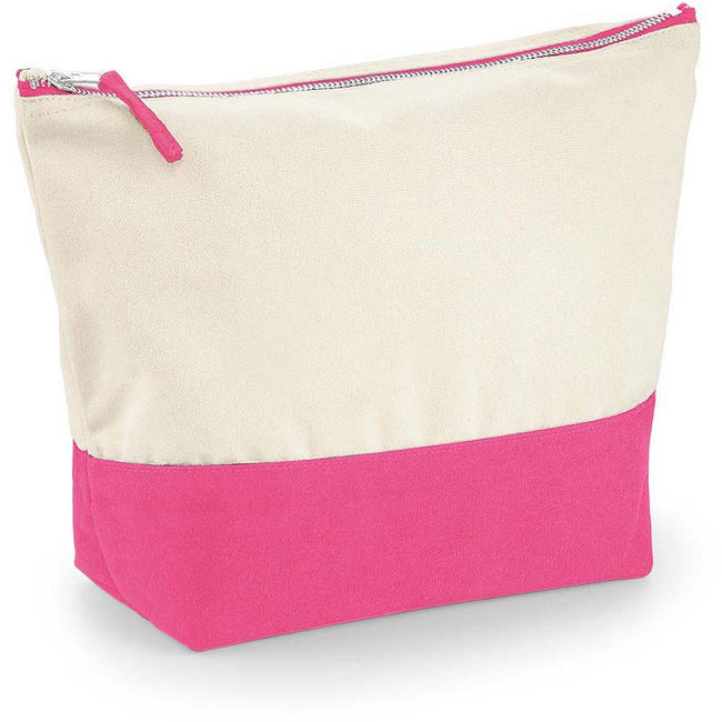Natural-True Pink - Back - Westford Mill Dipped Base Canvas Accessory Bag (Pack of 2)