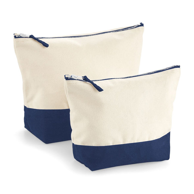 Natural-Navy - Front - Westford Mill Dipped Base Canvas Accessory Bag (Pack of 2)
