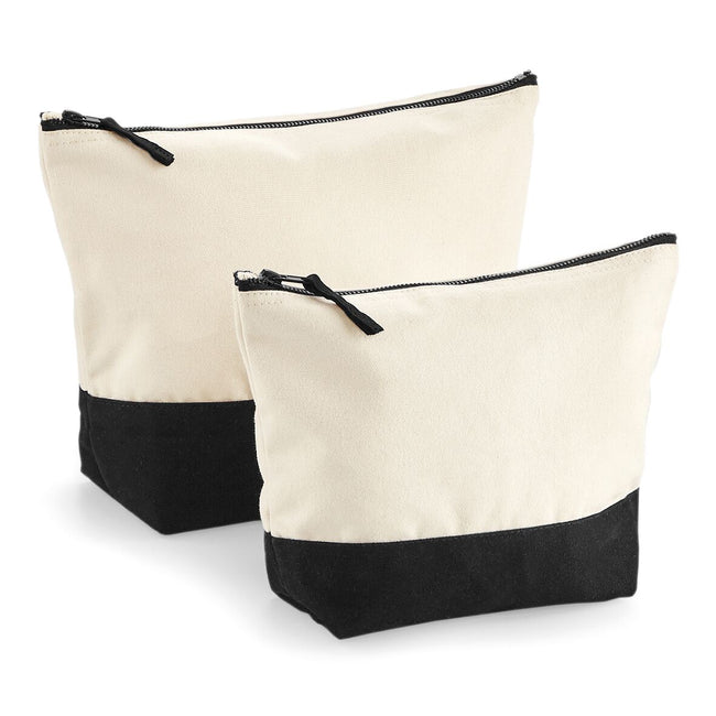 Natural-Black - Front - Westford Mill Dipped Base Canvas Accessory Bag (Pack of 2)