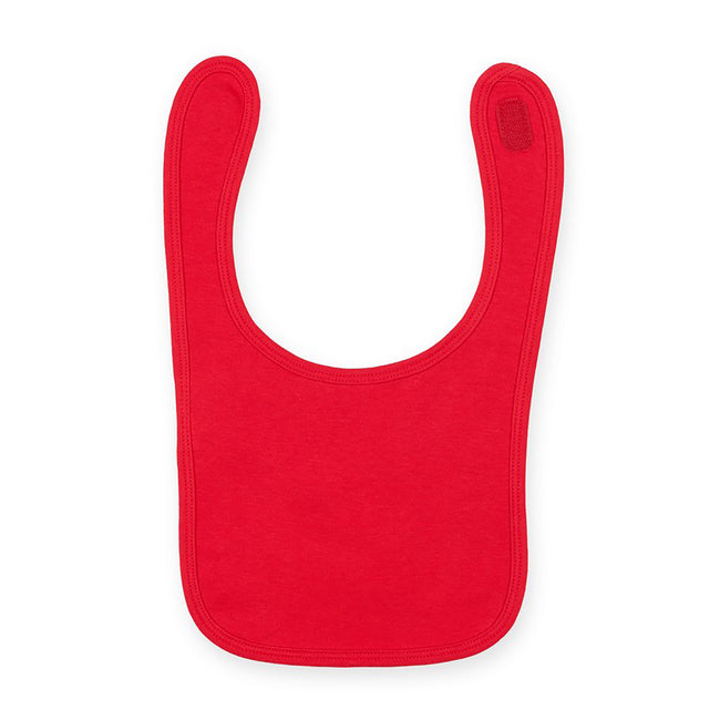 Red - Front - Larkwood Baby Unisex Plain & Contrast Bib (Pack of 2)