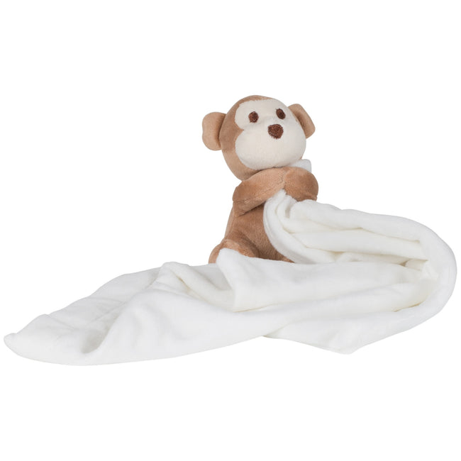 Cream-Brown - Front - Mumbles Baby Boys-Girls Plush Monkey Comforter Blanket (Pack of 2)