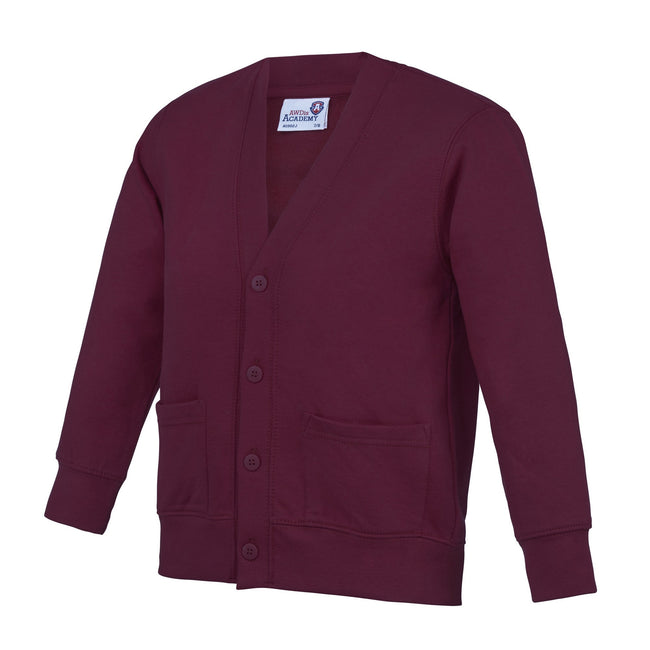 Claret - Front - AWDis Academy Childrens-Kids Button Up School Cardigan (Pack of 2)