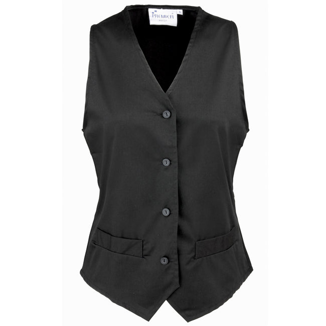 Black - Front - Premier Womens-Ladies Hospitality Waistcoat - Catering - Barwear (Pack of 2)