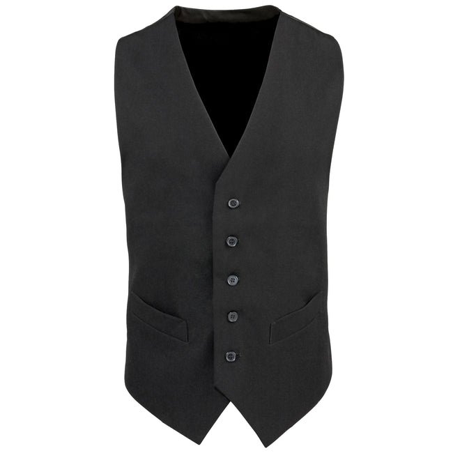 Black - Front - Premier Mens Lined Polyester Waistcoat - Catering - Bar Wear (Pack of 2)