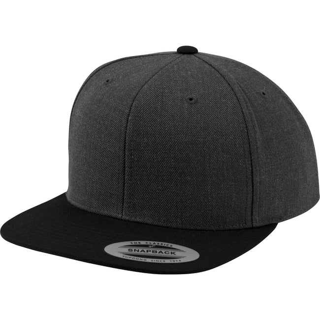 Charcoal-Black - Front - Yupoong Mens The Classic Premium Snapback 2-Tone Cap (Pack of 2)