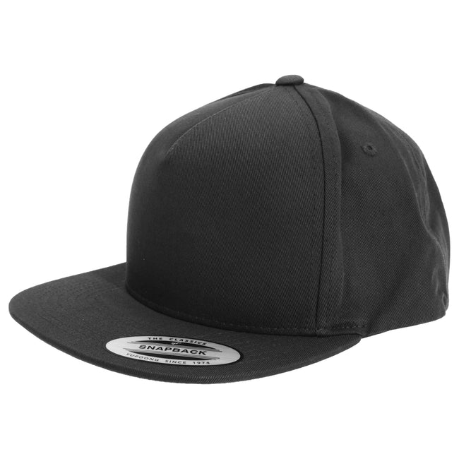Black - Front - Yupoong Flexfit Unisex Plain Classic 5 Panel Snapback Cap (Pack of 2)