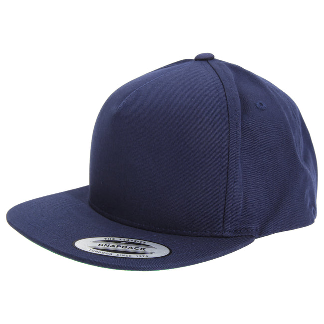 Navy - Front - Yupoong Flexfit Unisex Plain Classic 5 Panel Snapback Cap (Pack of 2)