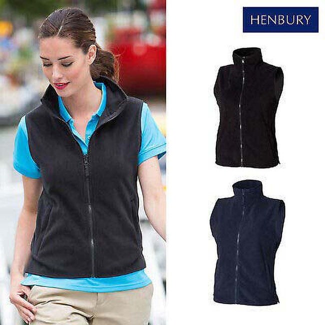 Black - Back - Henbury Womens-Ladies Sleeveless Microfleece Anti Pill Lightweight Jacket - Bodywarmer