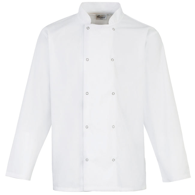 White - Front - Premier Studded Front Long Sleeve Chefs Jacket - Chefswear (Pack of 2)