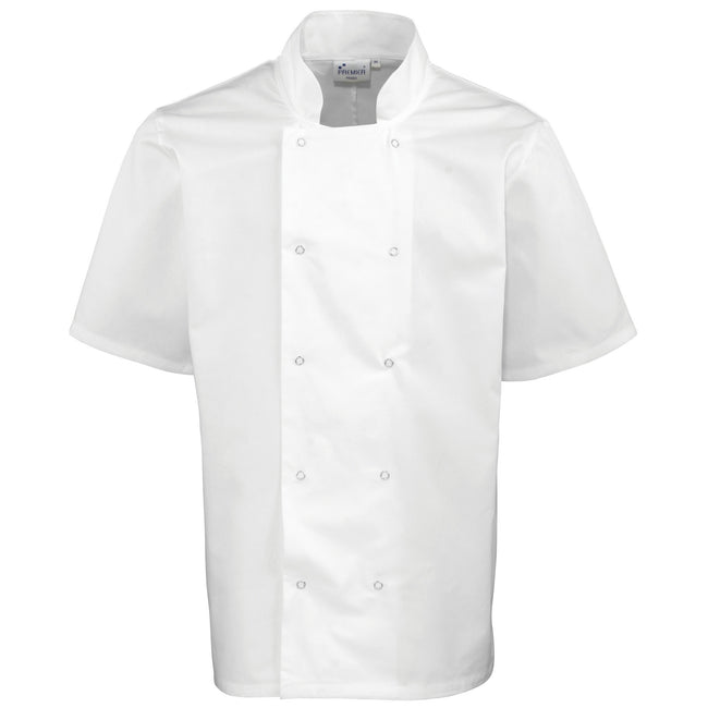 White - Front - Premier Unisex Studded Front Short Sleeve Chefs Jacket (Pack of 2)