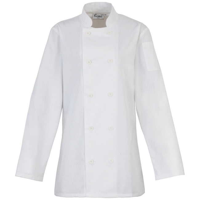 White - Front - Premier Womens-Ladies Long Sleeve Chefs Jacket - Chefswear (Pack of 2)