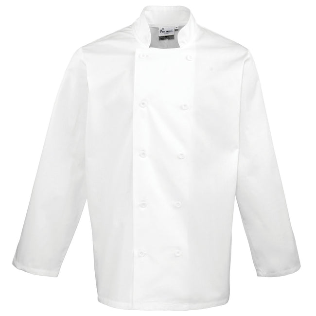 White - Front - Premier Unisex Chefs Jacket (Pack of 2)