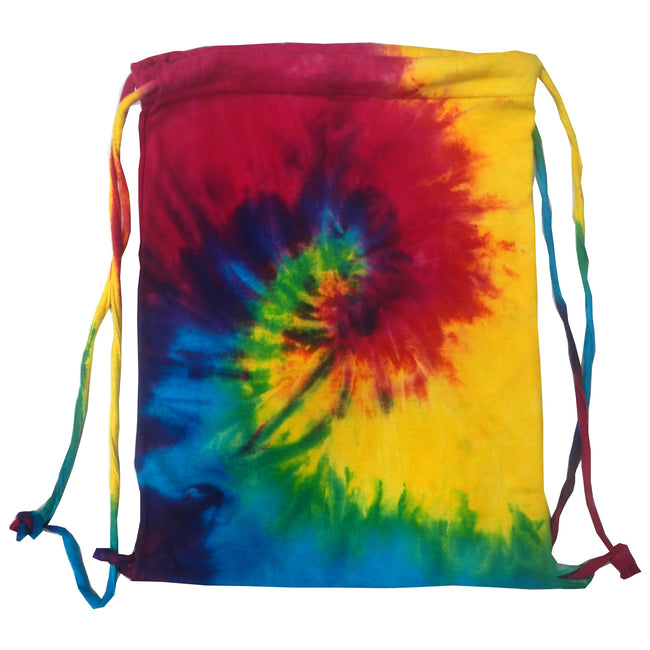 Reactive Rainbow - Front - Colortone Tie Dye Sports Drawstring Tote Bag (Pack of 2)