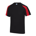 Jet Black-Arctic White - Front - Just Cool Mens Contrast Cool Sports Plain T-Shirt