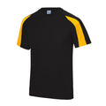 Jet Black-Electric Orange - Front - Just Cool Mens Contrast Cool Sports Plain T-Shirt
