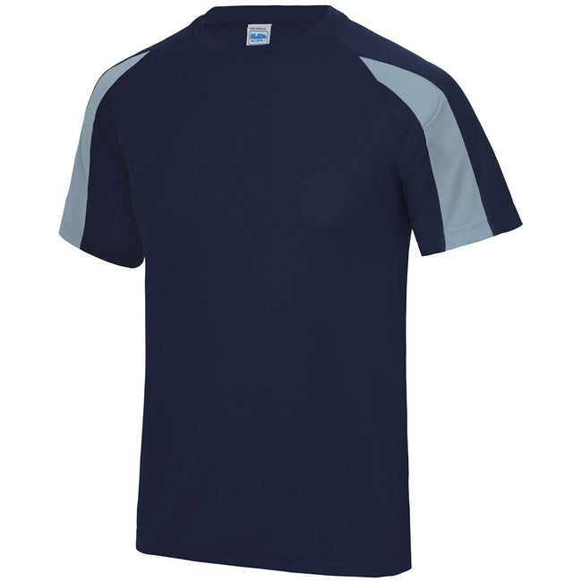 Oxford Navy- Sky Blue - Side - Just Cool Mens Contrast Cool Sports Plain T-Shirt