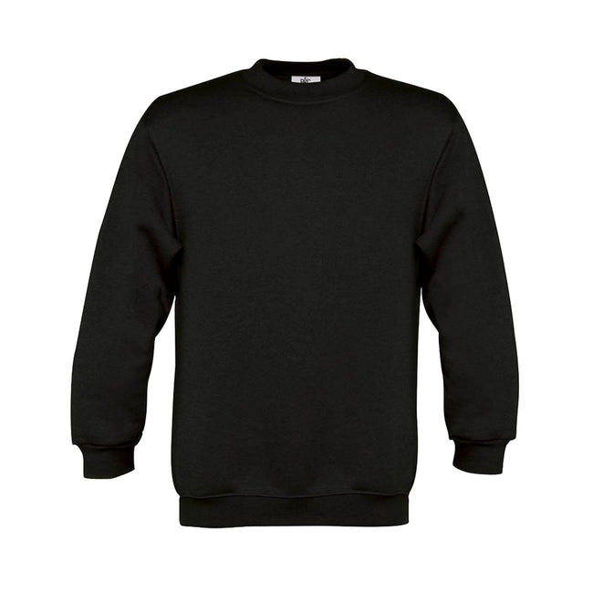 Black - Front - B&C Childrens-Kids Plain Crew Neck Sweatshirt (Pack of 2)