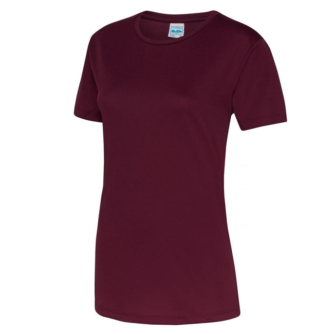 Burgundy - Front - Just Cool Womens-Ladies Sports Plain T-Shirt