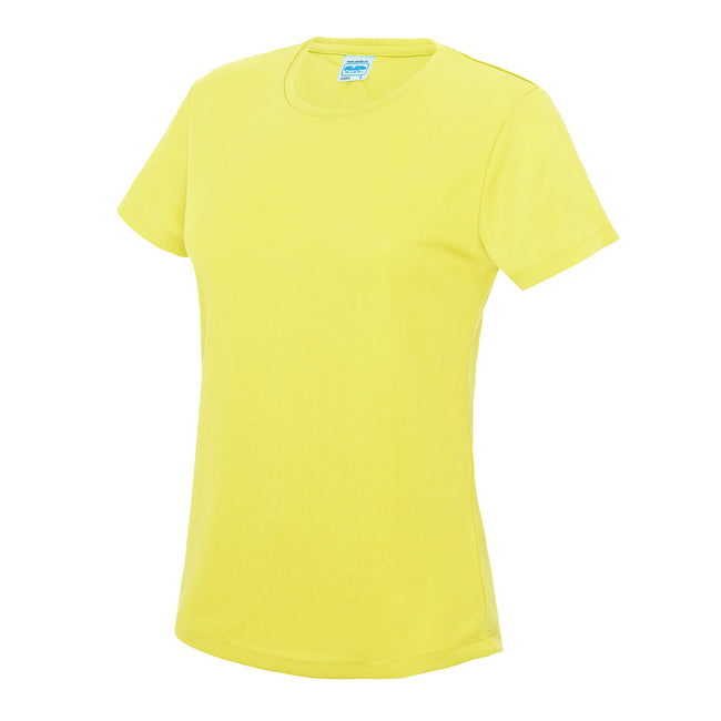 Electric Yellow - Back - Just Cool Womens-Ladies Sports Plain T-Shirt