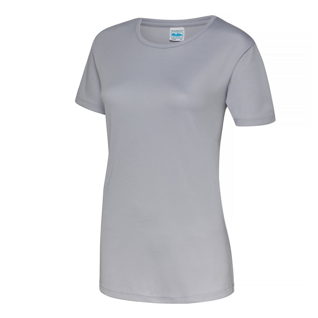 Heather Grey - Back - Just Cool Womens-Ladies Sports Plain T-Shirt