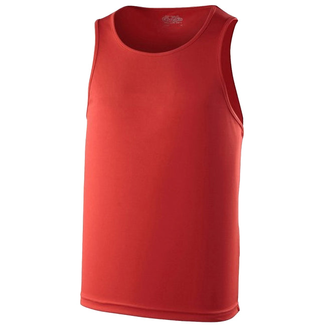 Fire Red - Back - Just Cool Mens Sports Gym Plain Tank - Vest Top