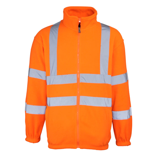 Fluorescent Orange - Front - RTY High Visibility Mens High Vis Full Zip Fleece Jacket (Pack of 2)