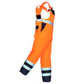 Orange- Navy - Front - Portwest Unisex Contrast Hi Vis Bib And Brace Coveralls - Unlined (S488) - Workwear (Pack of 2)