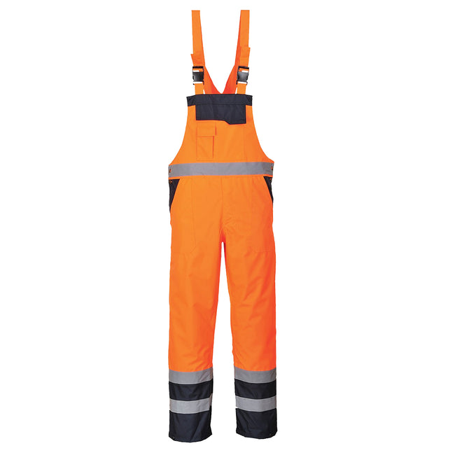 Yellow- Navy - Front - Portwest Unisex Contrast Hi Vis Bib And Brace Coveralls - Unlined (S488) - Workwear (Pack of 2)