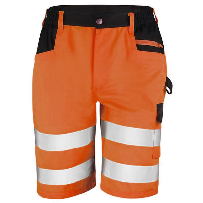 Orange - Front - Result Core Mens Reflective Safety Cargo Shorts (Pack of 2)