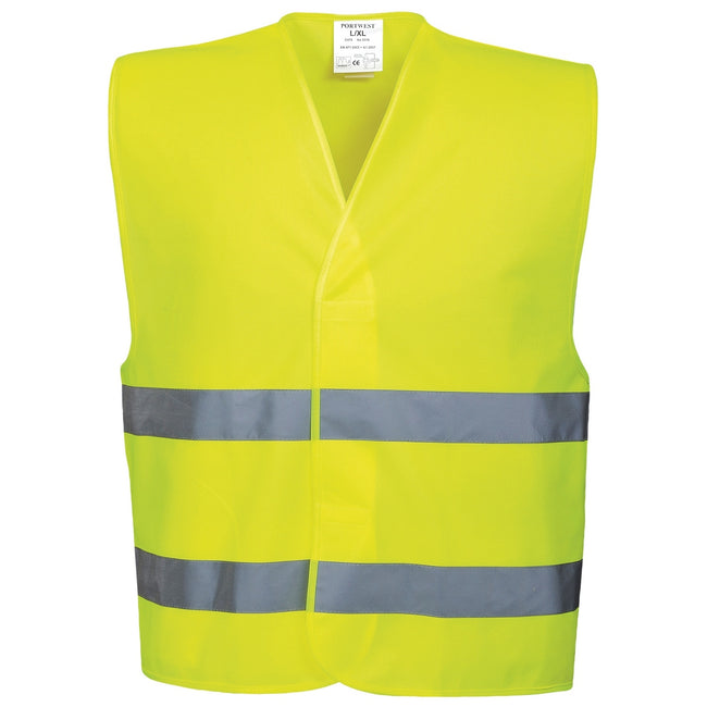Yellow - Front - Portwest Unisex High Visibility Two Band Safety Work Vest (Pack of 2)