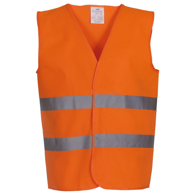 Orange - Front - Yoko Mens Hi Vis 2 Bands Vest-Waistcoat (Pack of 2)
