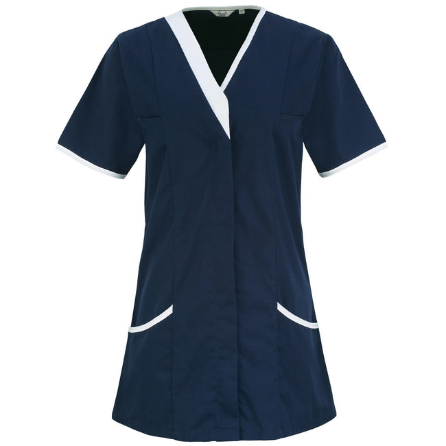Navy- White - Front - Premier Womens-Ladies Daisy Healthcare Work Tunic (Pack of 2)