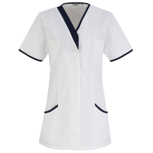 White- Navy - Front - Premier Womens-Ladies Daisy Healthcare Work Tunic (Pack of 2)