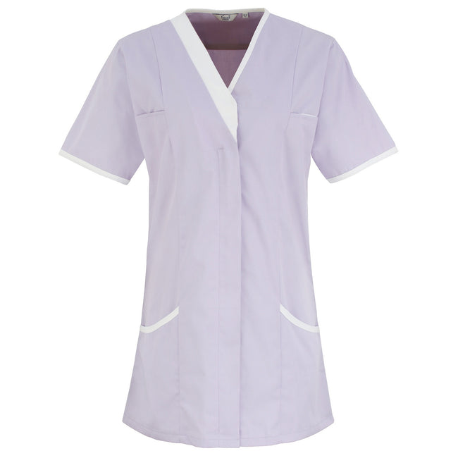 Lilac- White - Front - Premier Womens-Ladies Daisy Healthcare Work Tunic (Pack of 2)