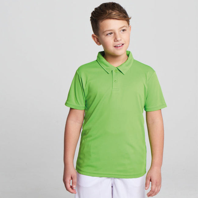 Sun Yellow - Front - Just Cool Kids Unisex Sports Polo Plain Shirt