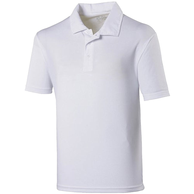 Arctic White - Front - Just Cool Kids Unisex Sports Polo Plain Shirt