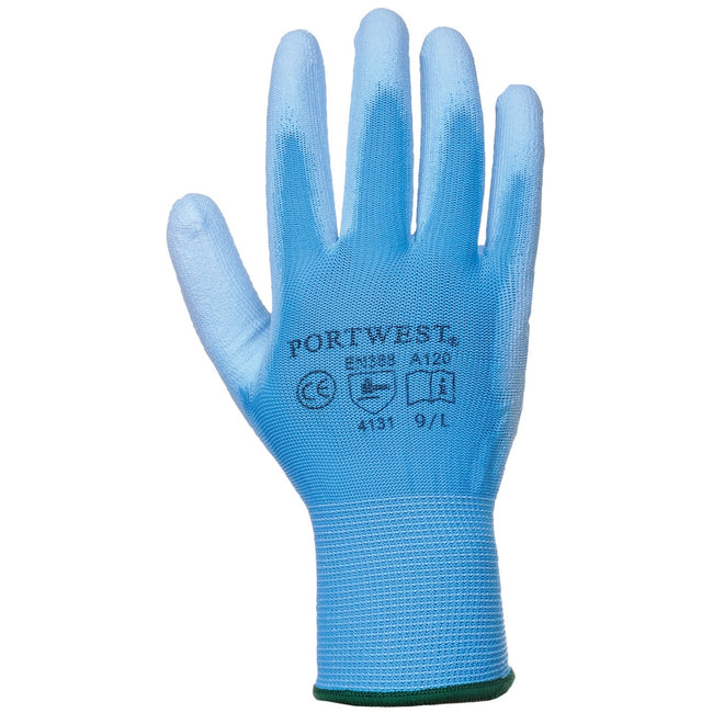 Blue - Front - Portwest PU Palm Coated Gloves (A120) - Workwear (Pack of 2)