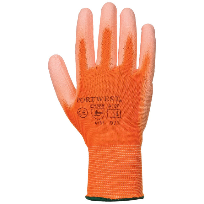 Orange - Front - Portwest PU Palm Coated Gloves (A120) - Workwear (Pack of 2)