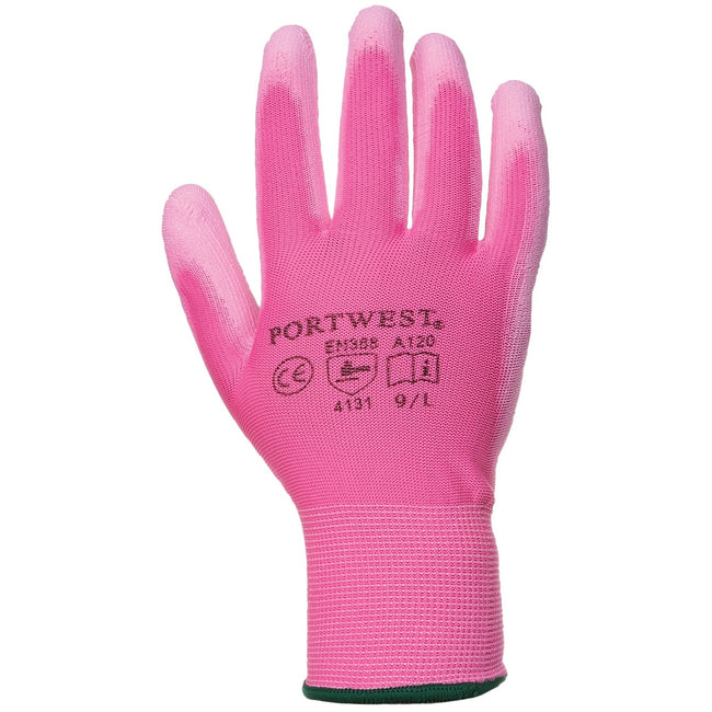 Pink - Front - Portwest PU Palm Coated Gloves (A120) - Workwear (Pack of 2)