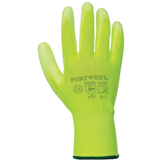 Yellow - Front - Portwest PU Palm Coated Gloves (A120) - Workwear (Pack of 2)